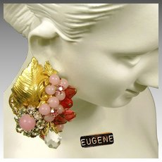 Vintage EUGENE Pink Art Glass Earrings w/ Rose Montee c.1950's