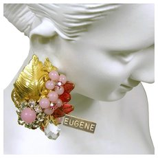 ~EUGENE'S Vintage Earrings~ ~Pink Art Glass~ ~Floral Rose Montee Detail ~ c.1950's~