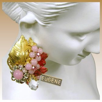 EUGENE Vintage Floral Earrings, Pink Art Glass w/ Rose Montee c.1950's