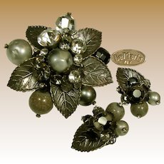 Robert DeMARIO Vintage Brooch 'n Earrings, Art Glass 'n Rhinestones c.1950's