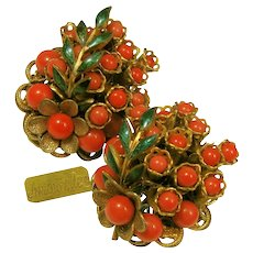 Amourelle (Frank Hess) Vintage Floral Earrings, Red Glass