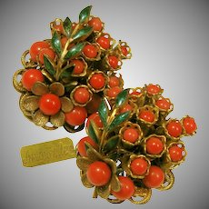 Vintage Amourelle (Frank Hess) Floral Earrings Red Glass