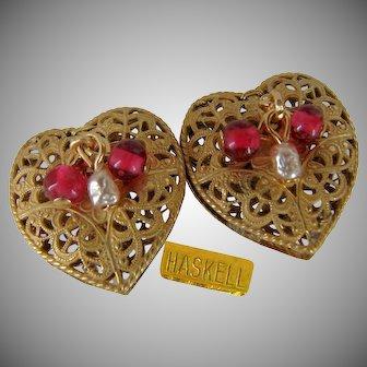 MIRIAM HASKELL Vintage Heart Earrings, Gilt Filigree, Czech Glass 'n Glass Baroque Pearls