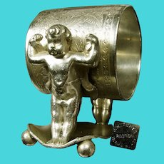 ~JAMES W TUFTS 1544 ~ Napkin Ring c.1875 ~ Baby Hercules / Cupid~