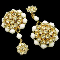 Vintage 2 Inch SANDOR Earrings w/ Rhinestone Drops mid-1950's