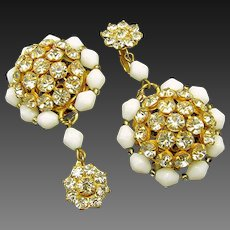 Vintage SANDOR 2 Inch Long Earrings, Rhinestone Pendant Drops c.1950's