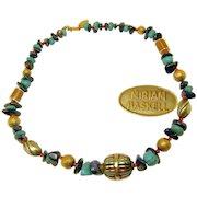 Vintage MIRIAM HASKELL Necklace, Lapis 'n Turquoise Natural Stone