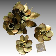 Vintage French Floral Pin Clip Set, Rare Sable Abalone c.1940's