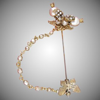 MIRIAM HASKELL Early Stick Pin / Brooch, Gilt Butterfly, Rhinestones 'n Glass Pearls