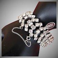 Kramer Vintage Wide Bracelet, Rhodium Sterling w/ Rhinestones c.1948, Velvet Boxed