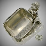 JAMES TUFTS Victorian Business Card Holder w/ Baby Hercules c.1880