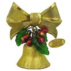 ~MIRIAM HASKELL Jingle Bell ~ Brooch ~ Glass Holly 'n Berries