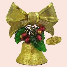 ~MIRIAM HASKELL Jingle Bell ~ Brooch ~ Glass Holly 'n Berries~
