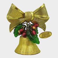 MIRIAM HASKELL Jingle Bell ~Brooch ~Glass Holly 'n Berries