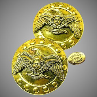 ZOE COSTE Vintage Earrings Winged Cherub 'n Eagle, FRENCH COUTURE c.1970's