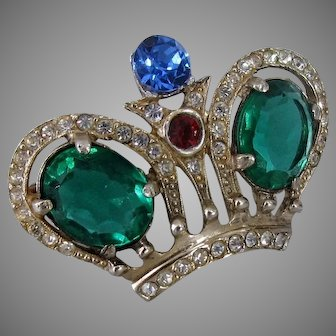 CASTLECLIFF Sterling WWII Crown Brooch, Pave-Set