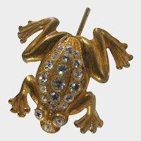 MIRIAM HASKELL Frog ~Stick Pin ~Rhinestones & Gilt