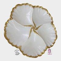 Art Nouveau LIMOGES Gilded Oyster Plate by Tressemann & Vogt 'n A. Lanternier