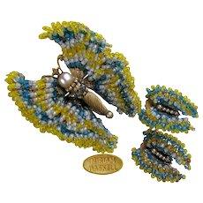 ~ Vintage MIRIAM HASKELL'S Glass BUTTERFLY Set ~  ~Brooch 'n Earrings~ ~Colorful Tapestry 'n GILT~