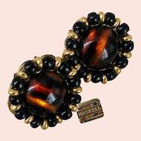 ~MIRIAM HASKELL Glass Tiger Eye ~ Vintage  Earrings ~ Russian Gilt Filigree~