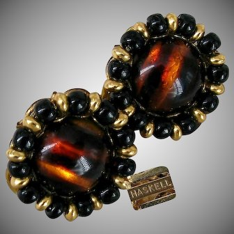 MIRIAM HASKELL Vintage Earrings, Glass Tiger Eye 'n Gilt