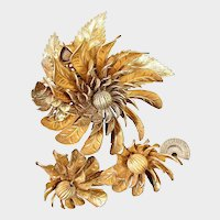 MIRIAM HASKELL Gilt ~Huge Whirligigs ~Brooch & Multi - Gilt w/Earrings