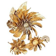 ~MIRIAM HASKELL's Gilt Whirligigs ~ Brooch 'n Earrings Set~