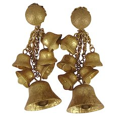 ~MIRIAM HASKELL Jingle Bell Earrings ~ Vintage Chandeliers ~ Etched Russian Gilt~