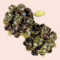 ~DeMario Amethyst Earrings ~ Filigree 'n Rhinestones ~ Vintage Rose Montee~