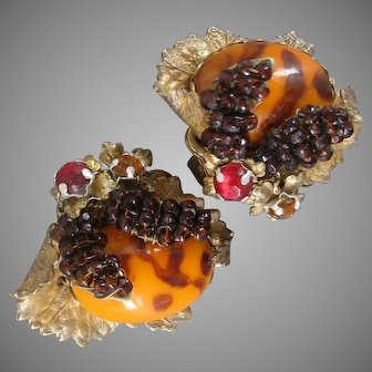 MIRIAM HASKELL Earrings, Intricate Still Life's of Glass & Gilt Brass