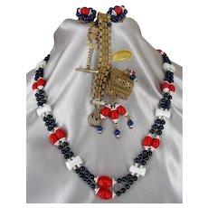 ~ MIRIAM HASKELL'S Set ~ Patriotic R~W~B~ ~Necklace, Earrings 'n Scarce Gilt 'n Glass Bracelet~