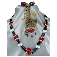 ~MIRIAM HASKELL Patriotic Set ~ Necklace, Earrings 'n Bracelet ~ R-W-B Glass 'n Gilt ~
