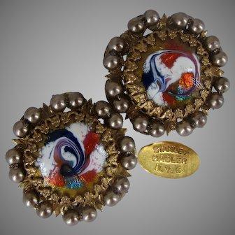 STANLEY HAGLER Vintage Earrings Gold Gilt 'n R W B Enamel