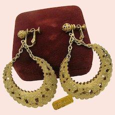 ~MIRIAM HASKELL Filigree Hoop Earrings  ~ Vintage ~ 2  3/4 Inches Long~