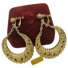 Vintage MIRIAM HASKELL ~Filigree Hoop Earrings ~2  3/4 Inches Long