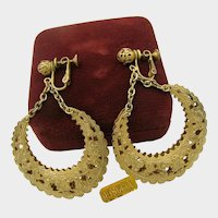 Vintage MIRIAM HASKELL ~Filigree Hoops ~2  3/4 Inches Long