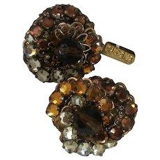 ~EUGENE Vintage Earrings~ ~Rose Montee 'n Filigree~  ~Shades Amber Glitz~