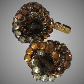 EUGENE Vintage Earrings, Shades of Amber Glitz