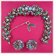 ~c.1950 HOLLYCRAFT Set ~ Bracelet 'n Earrings ~ Pastel Rhinestones~