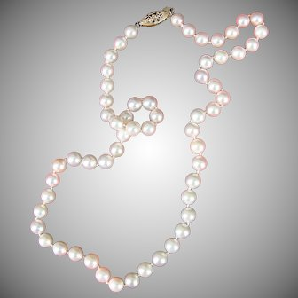 Vintage Cultured Pearl Necklace w/ 14KYG Filigree Clasp, Classic 'n Boxed