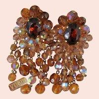 ~VOGUE CHANDELIER Earrings ~ Vintage c.1950's ~ Faceted AB Glass Rhinestone~