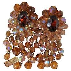 Vintage VOGUE CHANDELIER Earrings~ c.1950's ~Faceted AB Glass Rhinestone