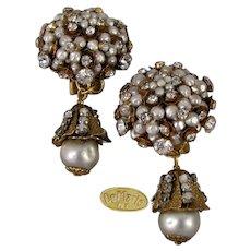 ~DeMARIO N.Y. Large Vintage Earrings~ ~Glass Pearl Cluster Drops 'n Rhinestones ~ Cased