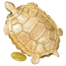 MIRIAM HASKELL Vintage Famous Turtle Brooch, Gilt Petite Lapel Size!