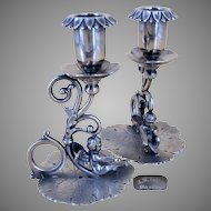 JAMES TUFTS Pair Candlesticks, Ornate w/ FAIRY Lily Pad Racers, c.1898