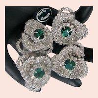 ~Rare HATTIE CARNEGIE DUETTE 'n Earrings ~ Book Pieces ~ Emerald 'n Wht. Rhinestones~
