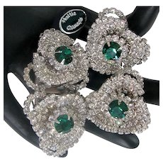 ~Rare HATTIE CARNEGIE DUETTE 'n Earrings ~ Book Pieces ~ Emerald 'n Wht. Rhinestones~