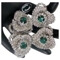 Rare HATTIE CARNEGIE DUETTE 'n Earrings ~Book Pieces ~Emerald 'n Wht. Rhinestones