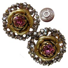 ~MIRIAM HASKELL Classic Pink ~ Rhinestone Earrings ~ w/ Rose Montee Mist~