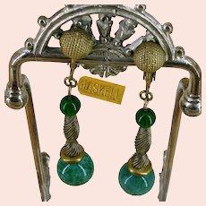~MIRIAM HASKELL DANGLE Earrings ~ Green Glass ~ Russian Gilt~